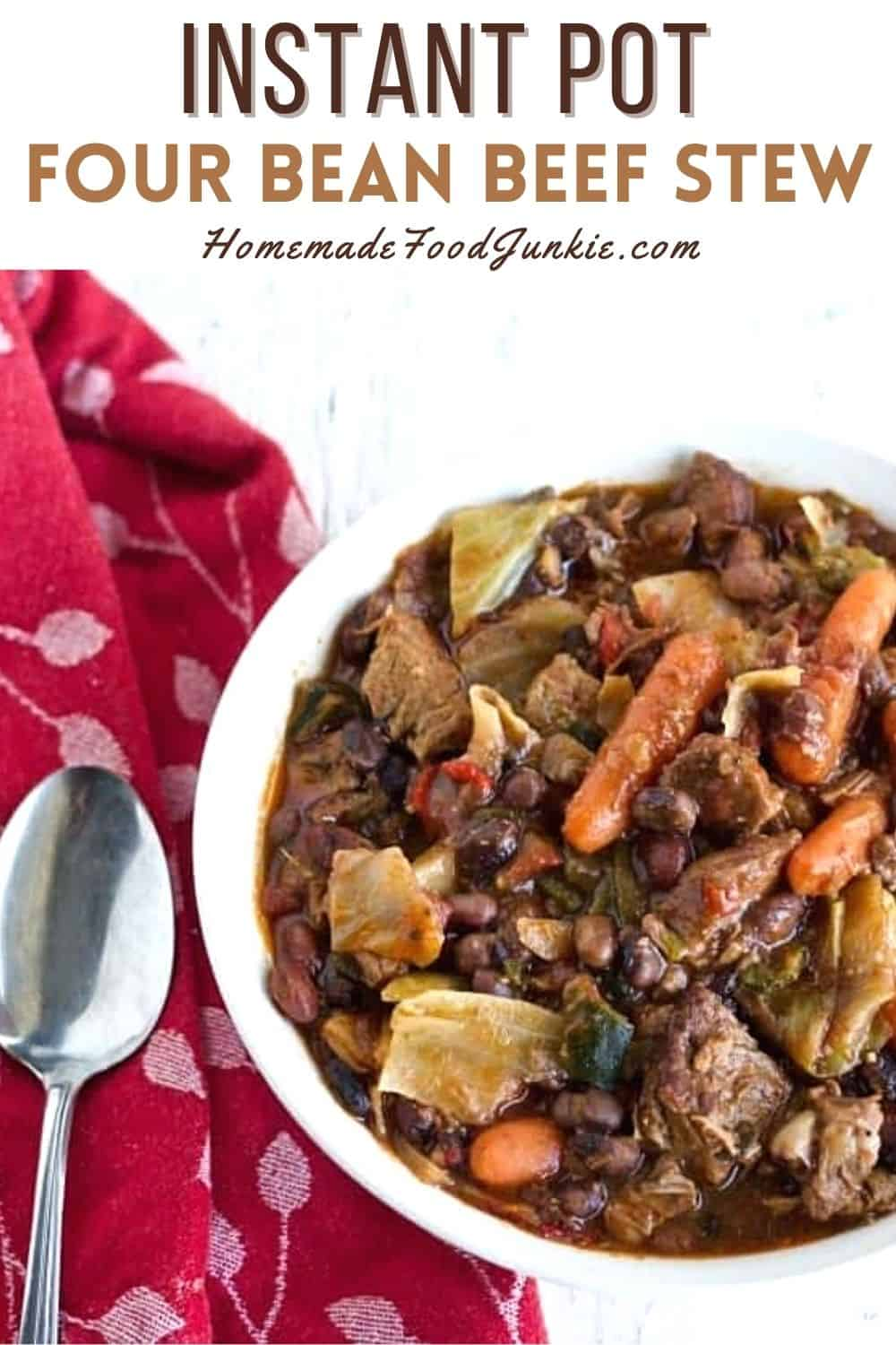 Instant pot four bean beef stew-pin image