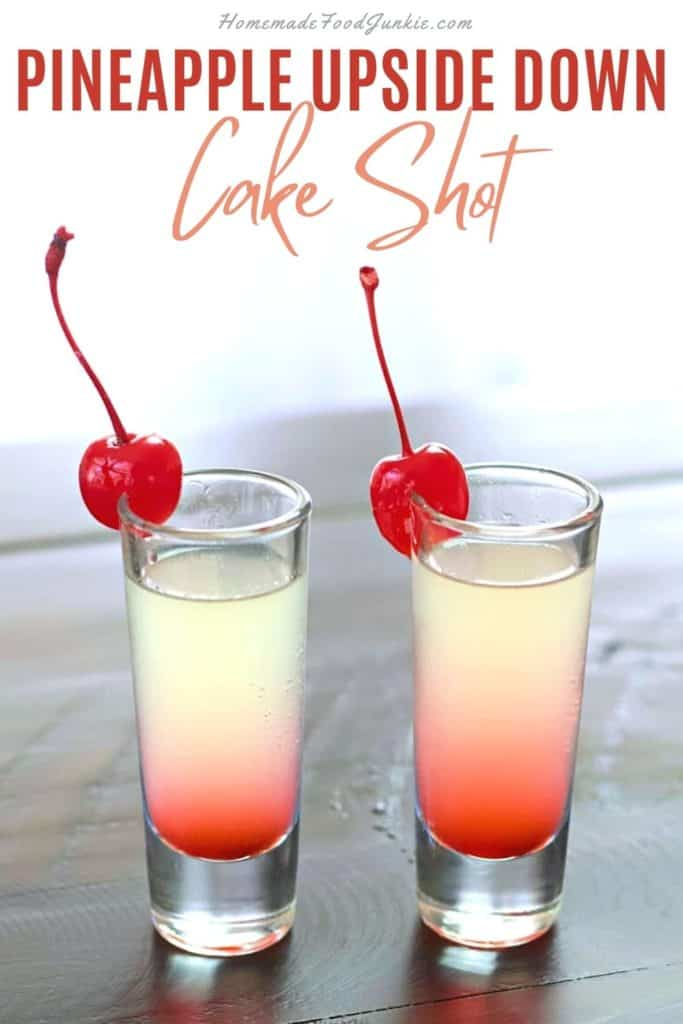 Pineapple upside down cake shot-pin image