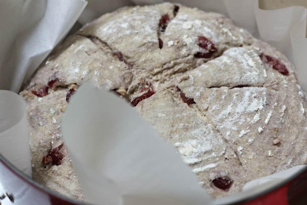 cranberry walnut loaf in dutch oven-raw