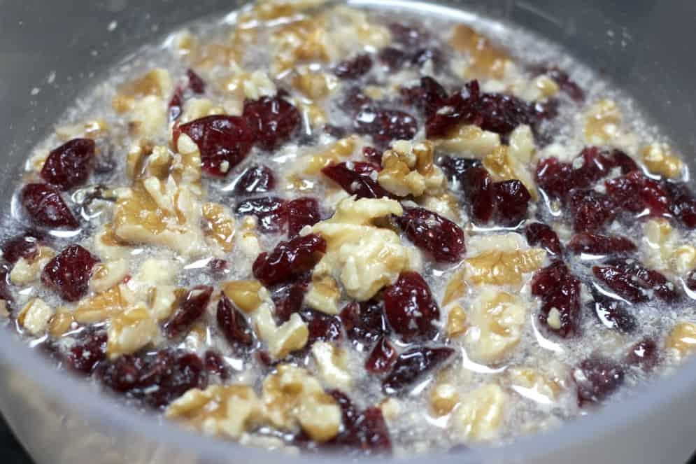 soaking walnuts and cranberries