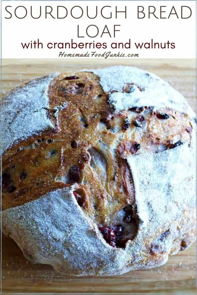 Sourdough bread loaf with cranberries and walnuts-pin image