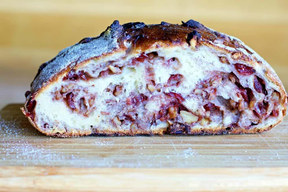 crumb shot cranberry walnut bread