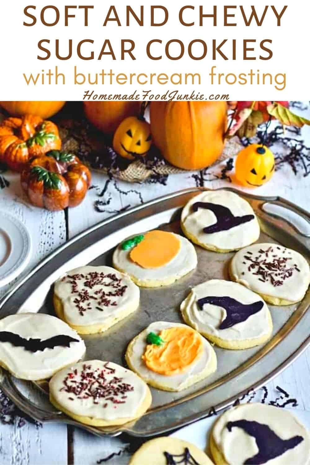 Soft And Chewy Sugar Cookies With Buttercream Frosting-Pin Image