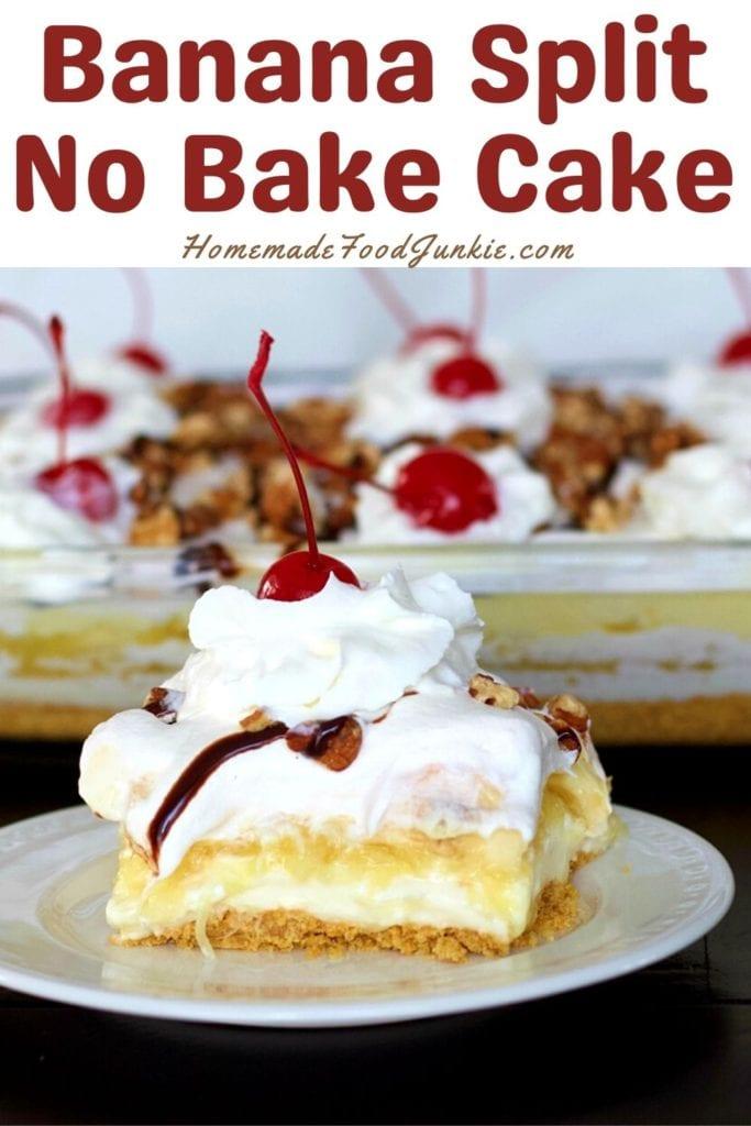 Banana split no bake cake-pin image