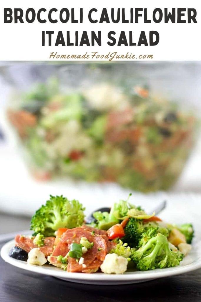 Broccoli cauliflower italian salad-pin image