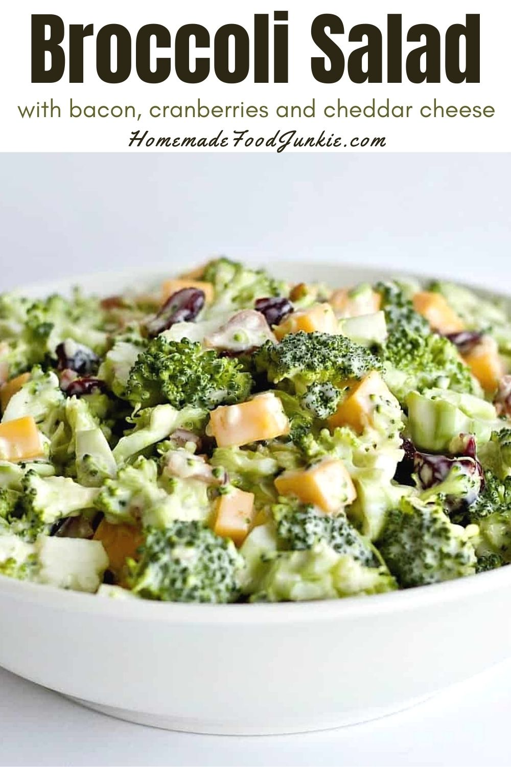 Broccoli salad with bacon, cranberries and cheddar cheese-pin image