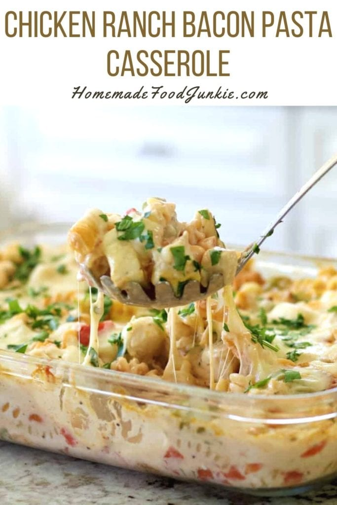 Chicken ranch bacon pasta casserole-pin image