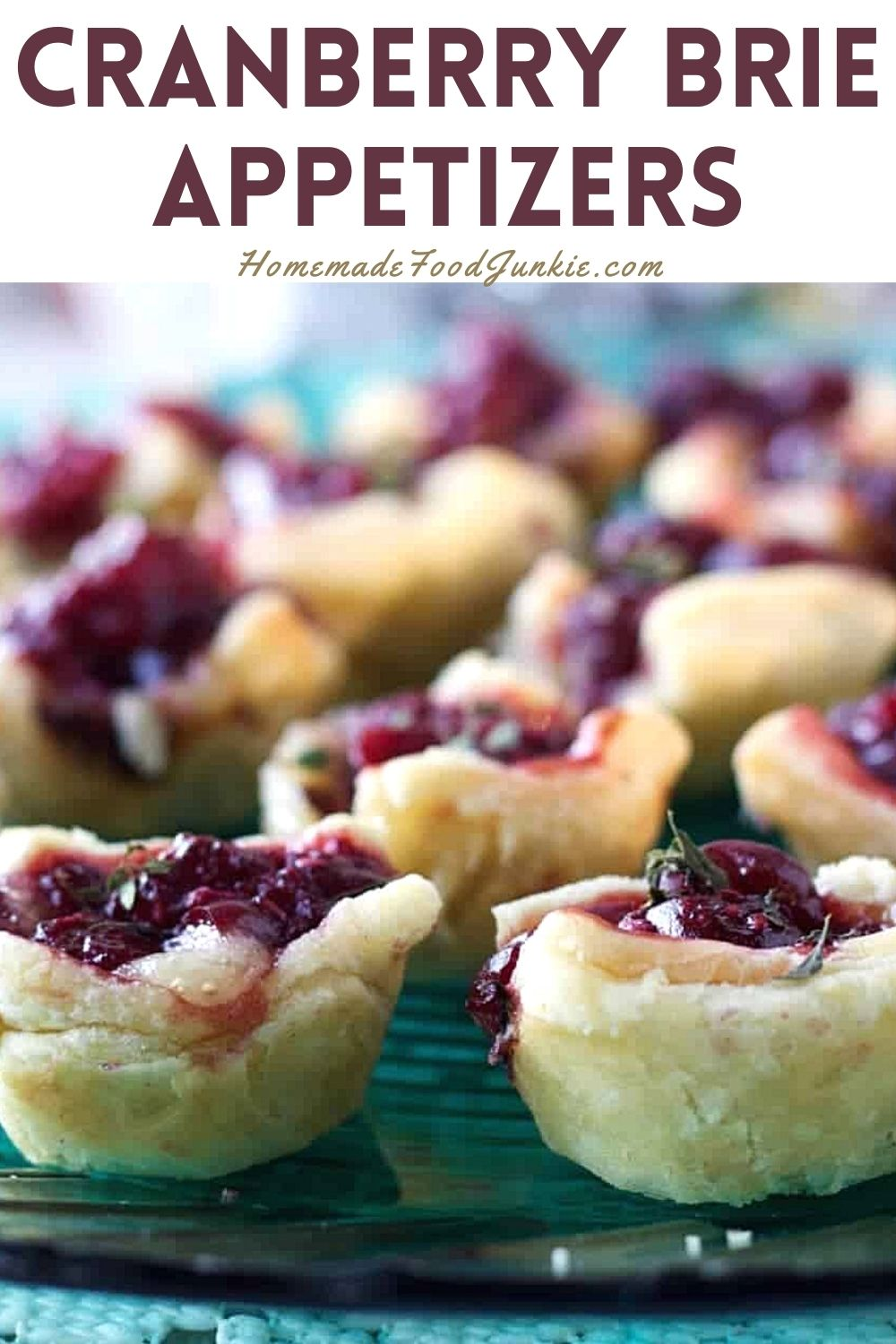Cranberry brie appetizers-pin image