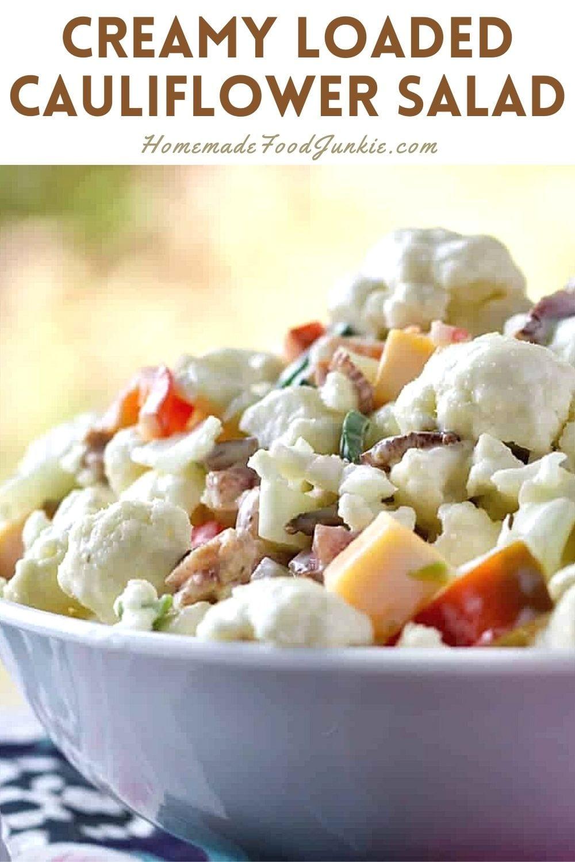 Creamy Loaded Cauliflower Salad-Pin Image