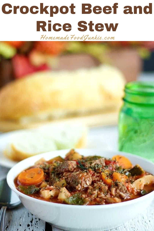 Crockpot beef and rice stew-pin image