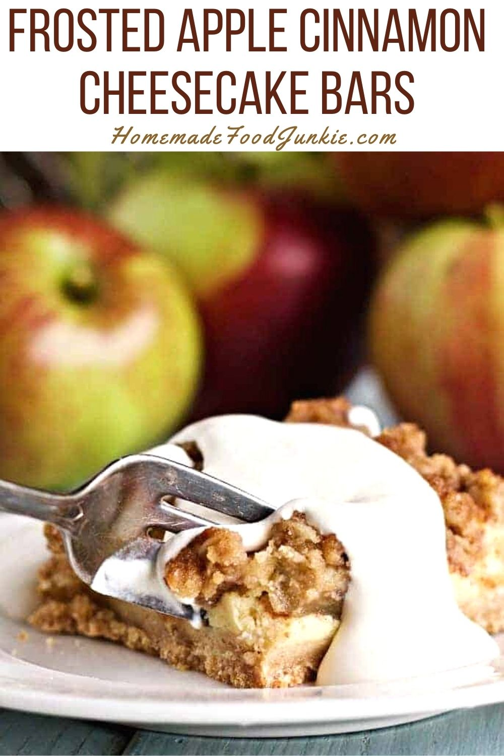 Frosted apple cinnamon cheesecake bars-pin image