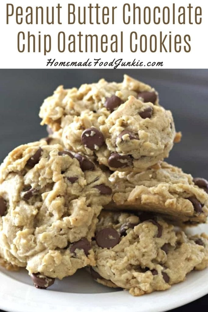 Peanut Butter Chocolate Chip Oatmeal Cookies-Pin Image