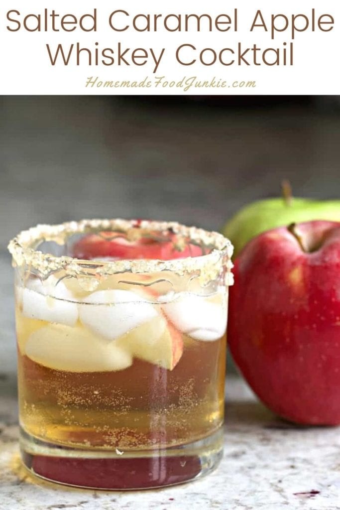 Salted caramel apple whiskey cocktail-pin image