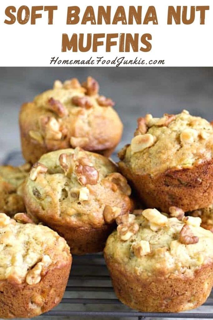 Soft banana nut muffins-pin image