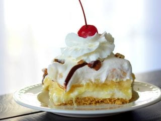 banana split cake single serving on a plate