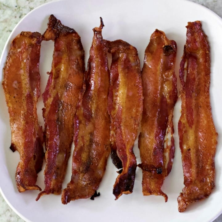 candied bacon on a plate