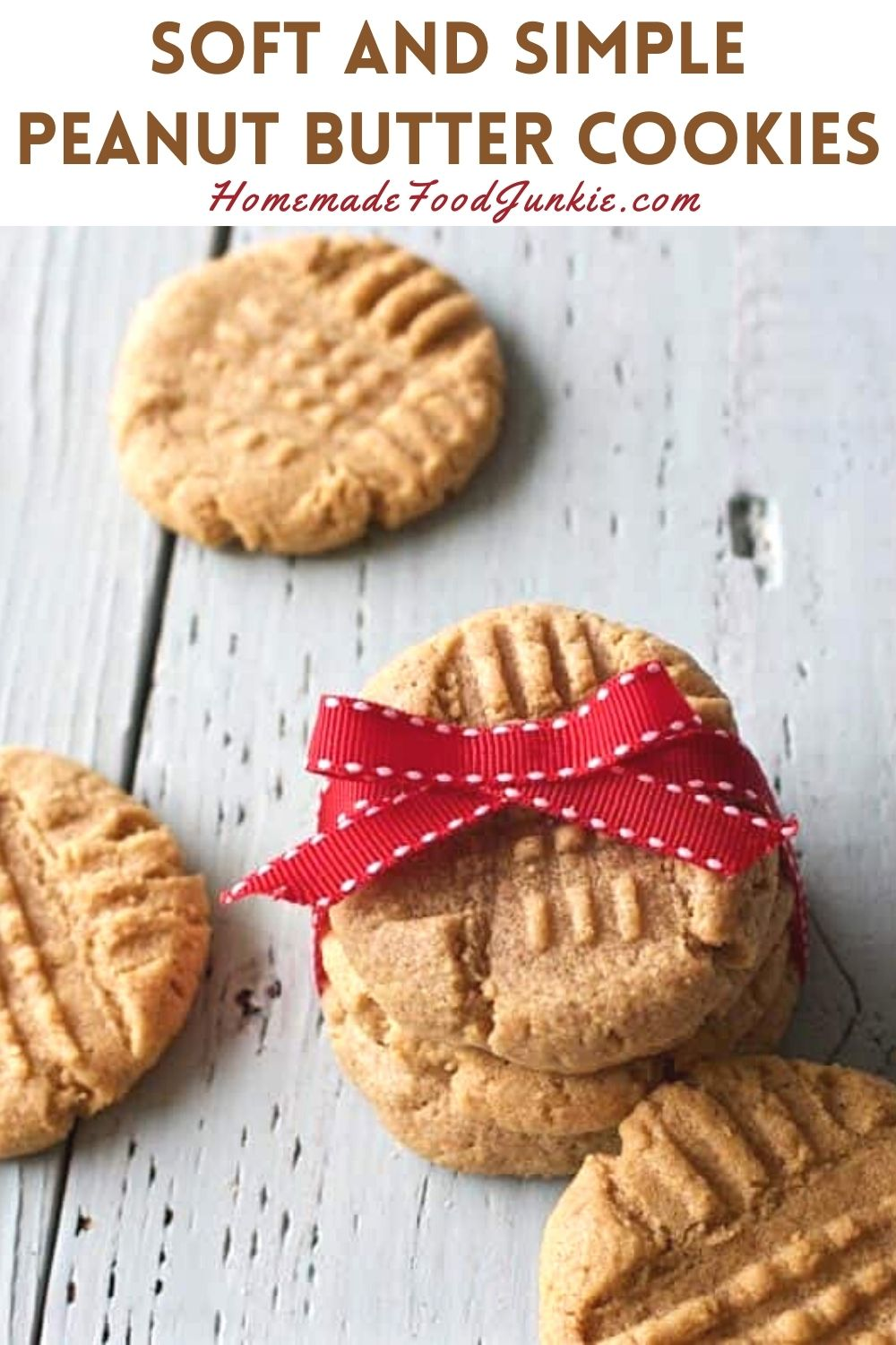 Soft and simple peanut butter cookies-pin image