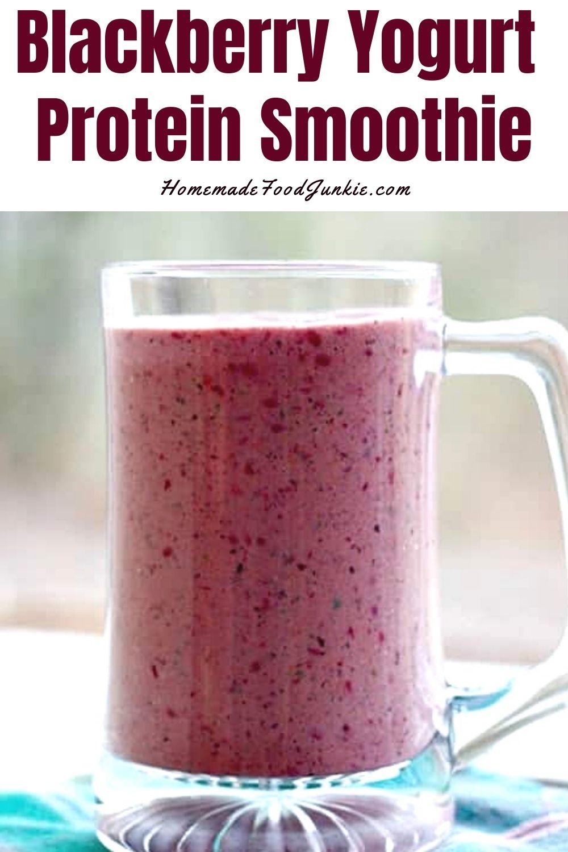 Blackberry yogurt protein smoothie-pin image