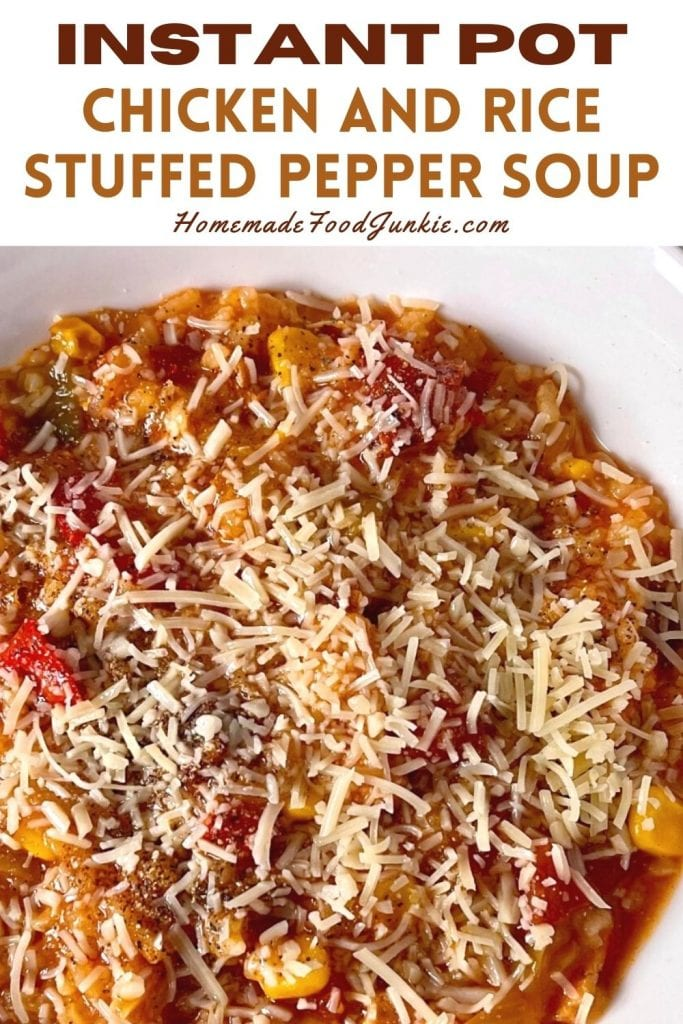 Instant pot chicken and rice stuffed pepper soup-pin image