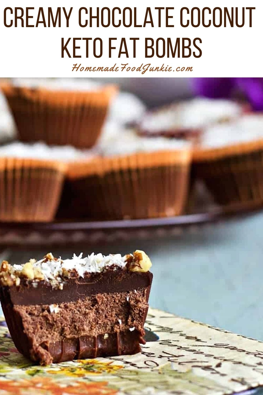 Creamy Chocolate Coconut Keto Fat Bombs-Pin Image