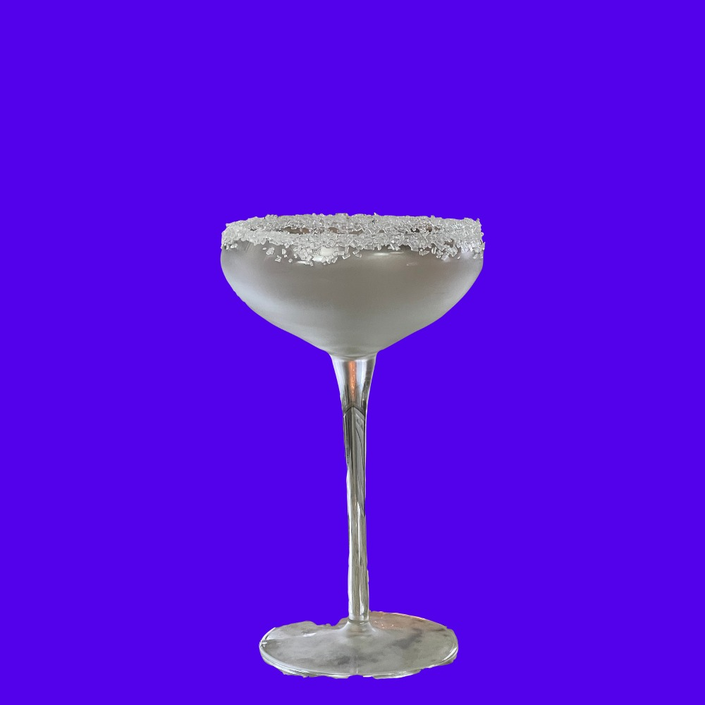 glass rimmed in sanding sugar