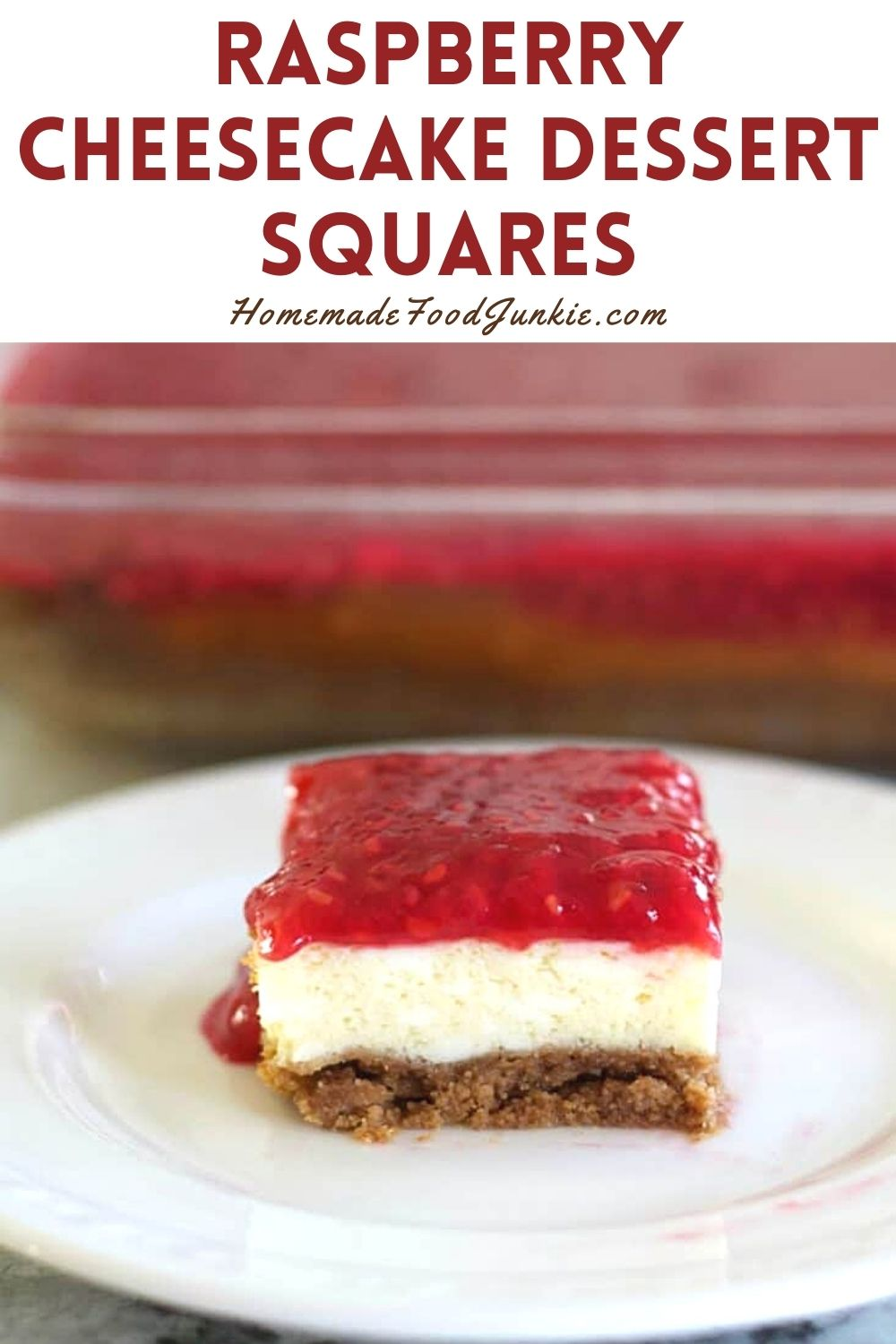 Raspberry cheesecake dessert squares-pin image