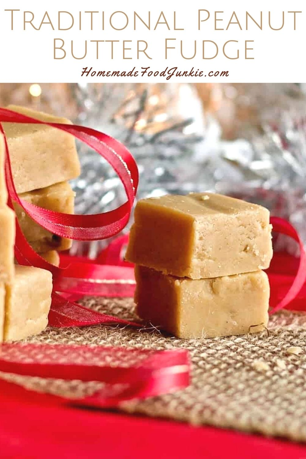 Traditional peanut butter fudge-pin image