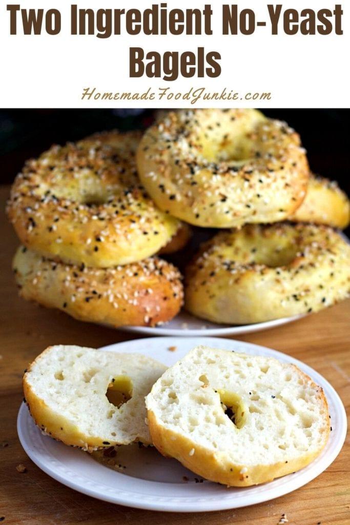 Two ingredient no yeast bagels-pin image