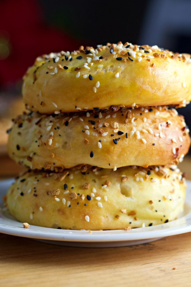 bagels stacked on plate