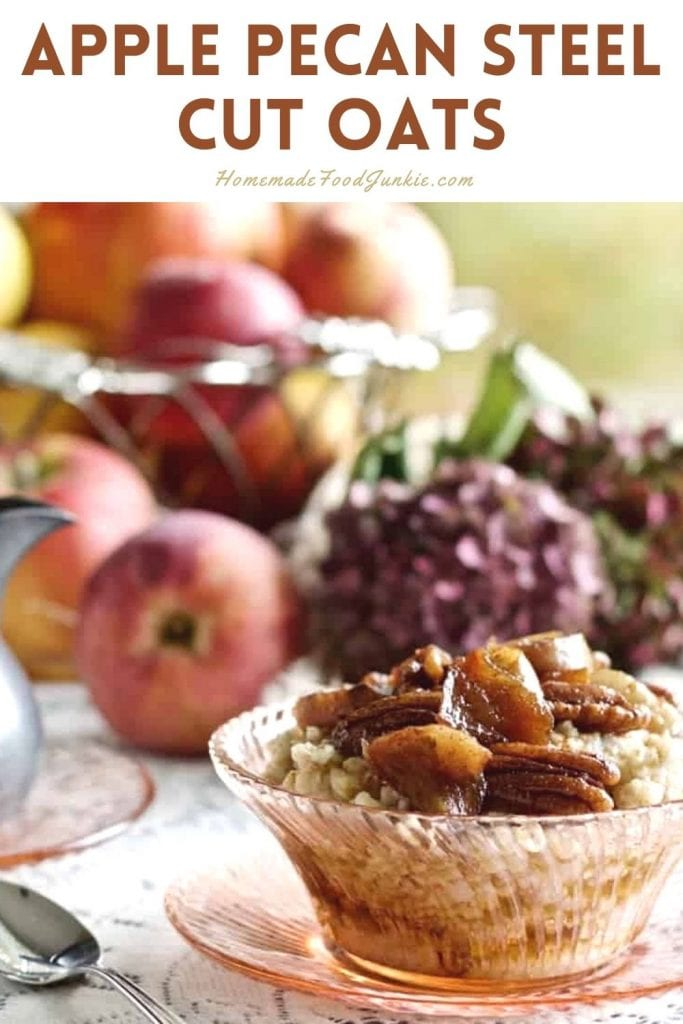 Apple pecan steel cut oats-pin image