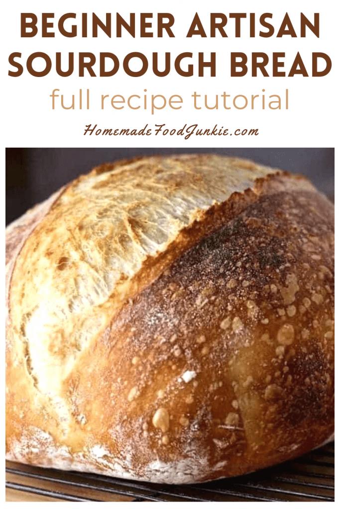 Beginner artisan sourdough bread full tutorial recipe-pin image