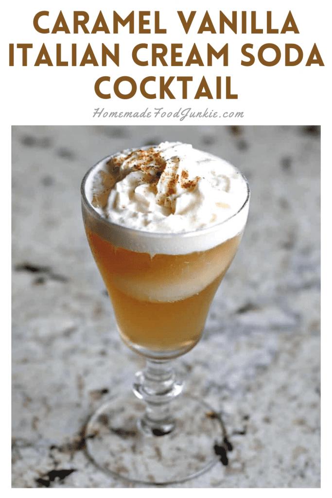 Caramel vanilla Italian cream soda cocktail-pin image