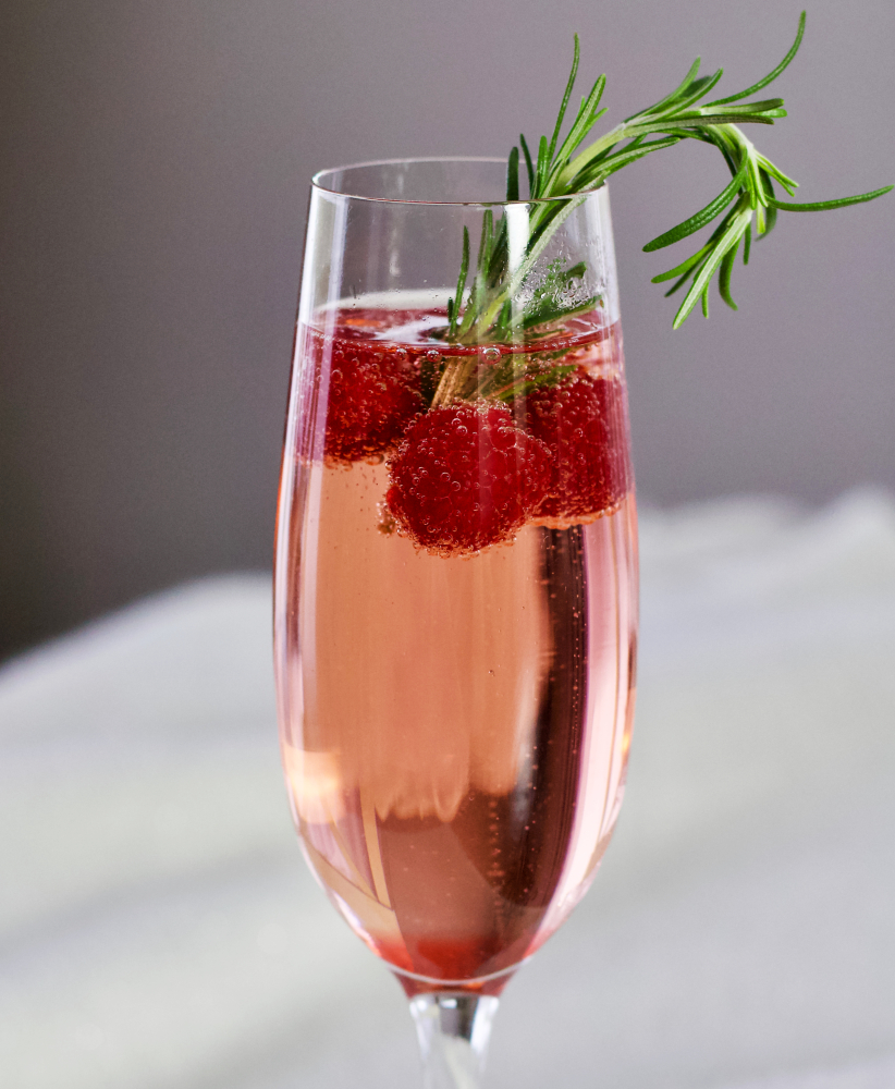 champagne cocktail with rosemary