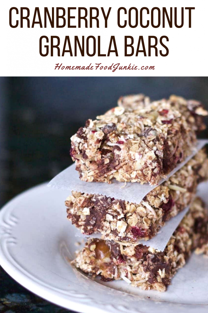 Cranberry coconut granola bars-pin image