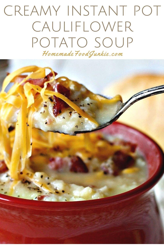 Creamy instant pot cauliflower potato soup-pin image