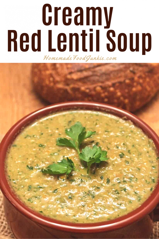 Creamy Red Lentil Soup-Pin Image