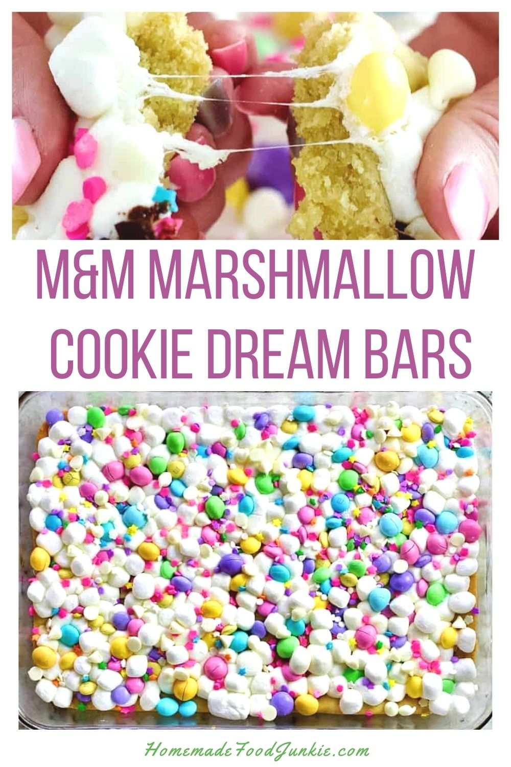 M&M marshmallow cookie dream bars-pin image