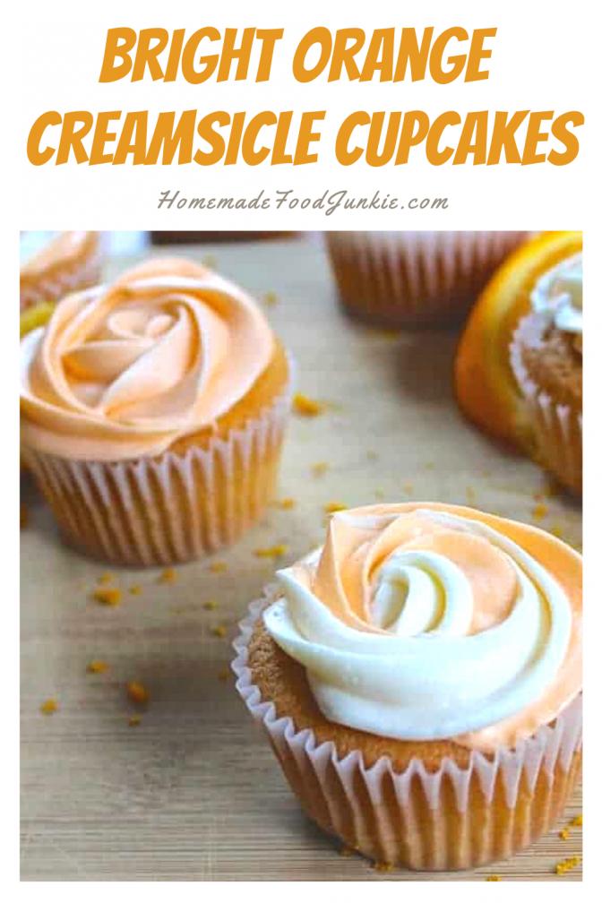 Bright orange creamsicle cupcakes-pin image