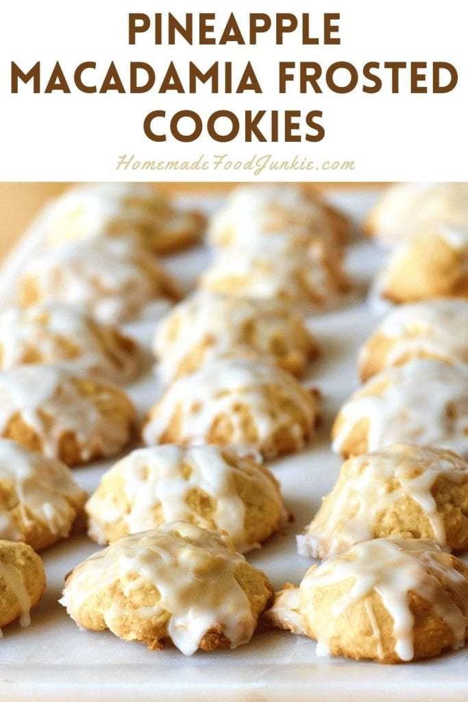 Pineapple macadamia frosted cookies-pin image