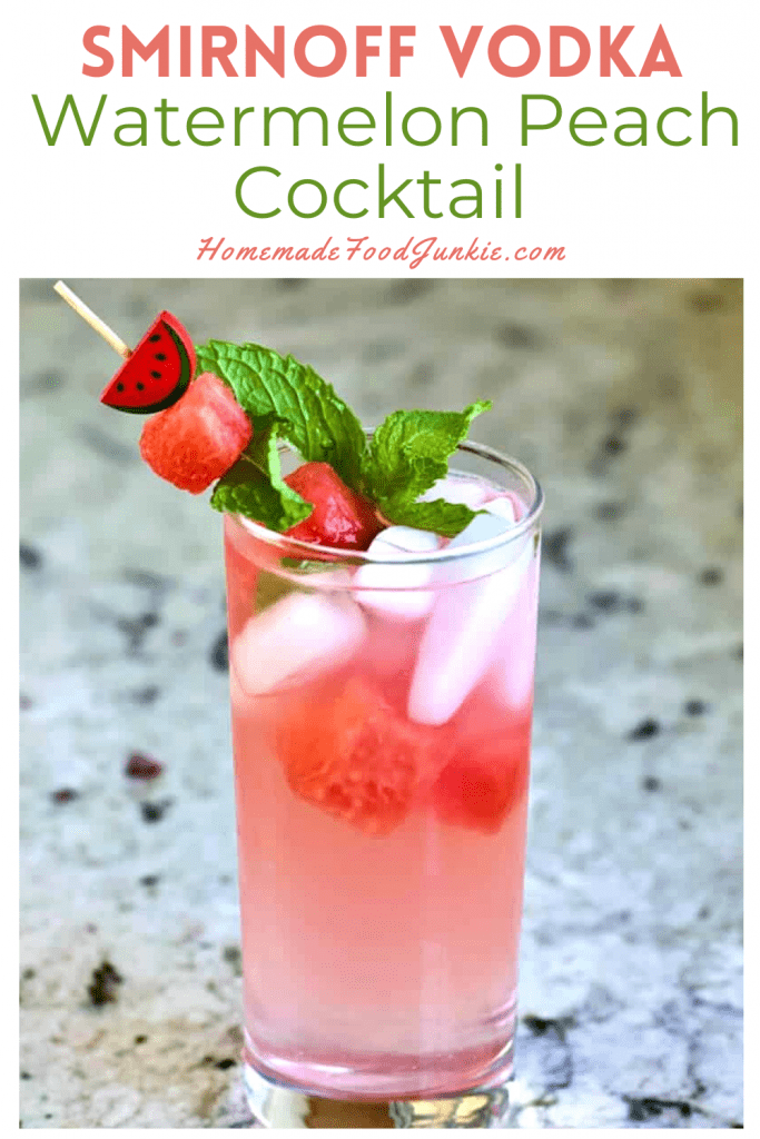 Smirnoff vodka watermelon peach cocktail-pin image
