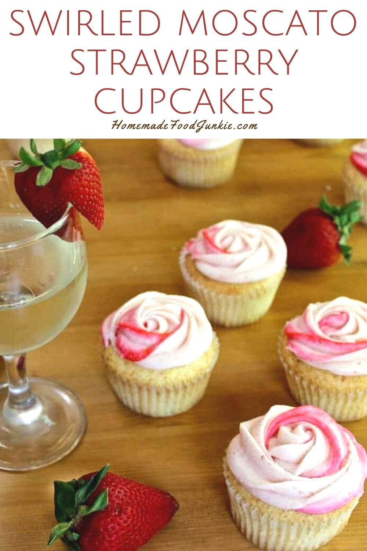 Swirled Moscato Strawberry Cupcakes-Pin Image