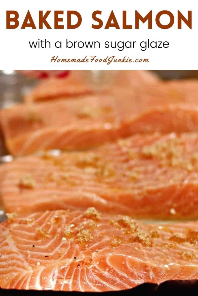 Baked salmon with a brown sugar glaze-pin image