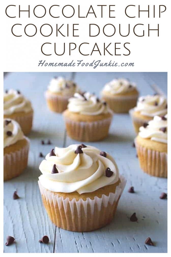 Chocolate chip cookie dough cupcakes-pin image