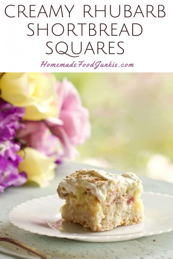 Creamy rhubarb shortbread squares-pin image