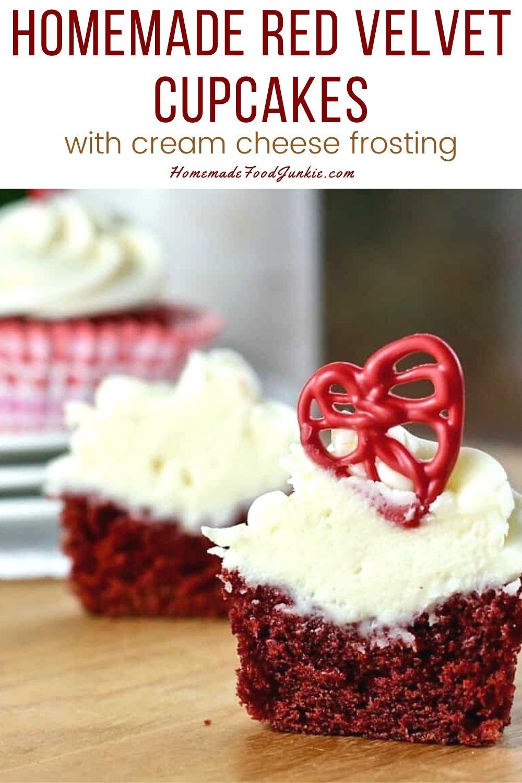 Homemade Red Velvet Cupcakes-Pin Image