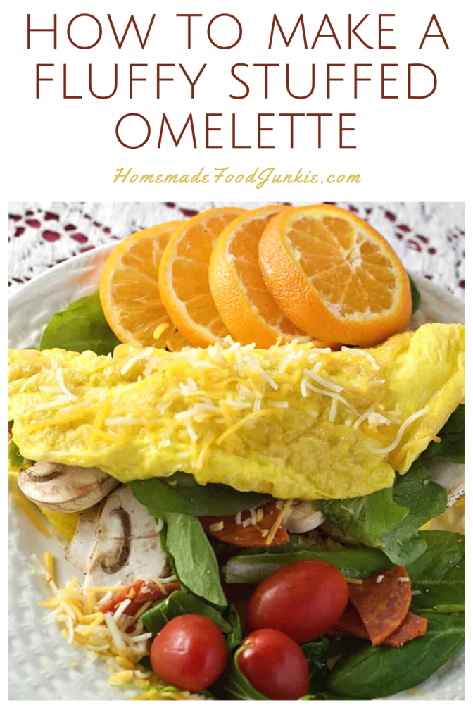 How to make a fluffy stuffed omelette-pin image