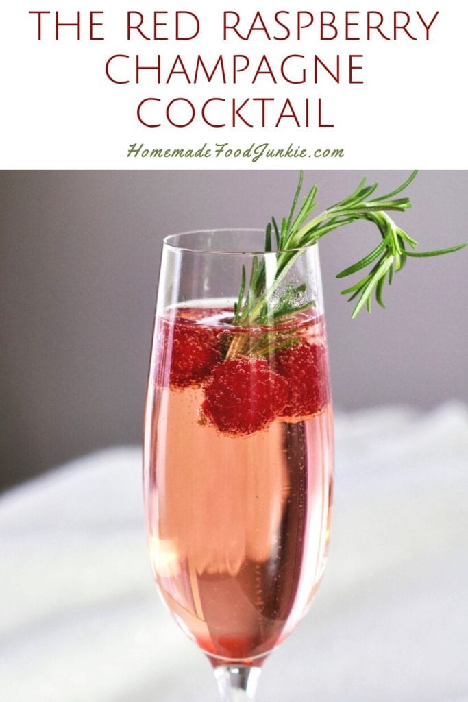 The red raspberry champagne cocktail-pin image