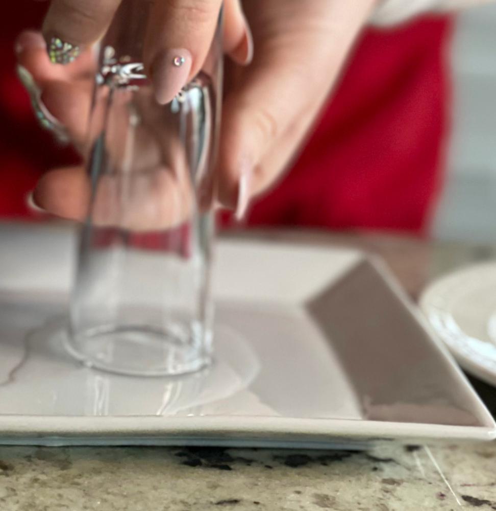 wetting rim of shot glass