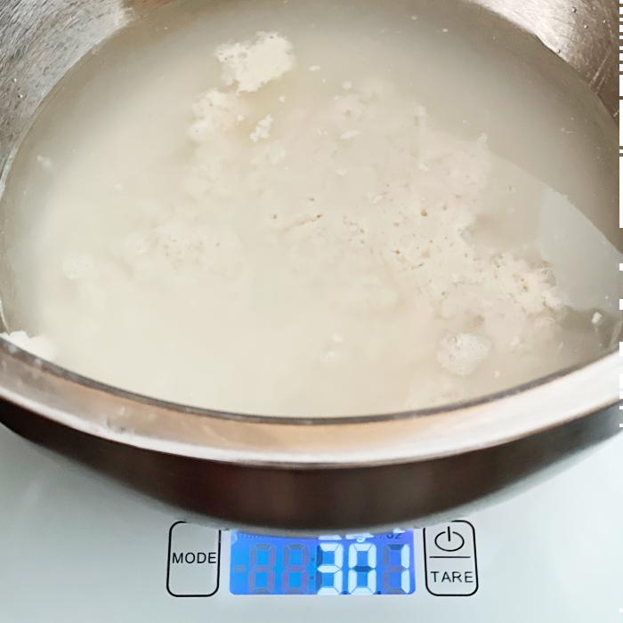 300 grams starter and 500 grams water