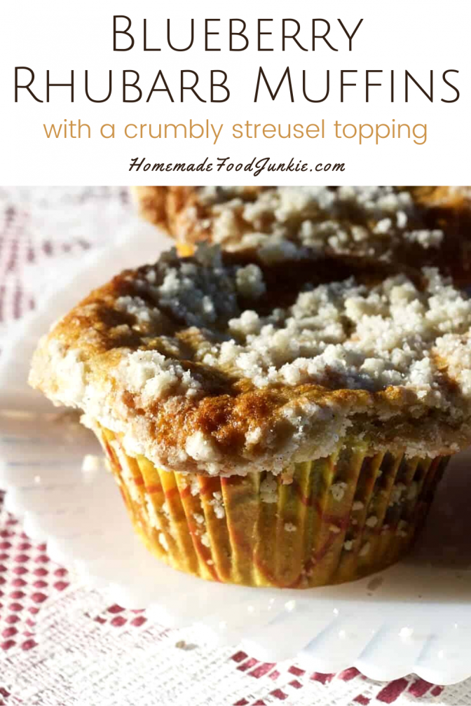 Blueberry rhubarb muffins with a crumbly streusel topping-pin image